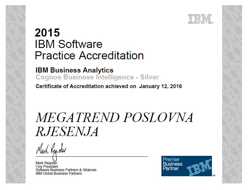 certifikat akreditacija ibm cognos