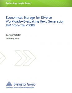 Evaluating Next Generation IBM Storwize V5000